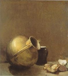 Sören Emil Carlsen (Danish/American, 1853-1932)   Still Life with Oysters and Brass Jug
