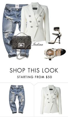 """""""Untitled #3691"""" by teastylef ❤ liked on Polyvore featuring Balmain, Dsquared2 and Andrew Gn"""