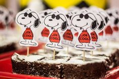 Joe Cool brownies at a Snoopy birthday party! See more party planning ideas at CatchMyParty.com!