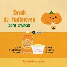 Infográfico receita de Drink de Halloween para crianças, uma forma bem divertida para animar as festas do Dia das Bruxas, é uma receita muito fácil e rápida de fazer. Ingredientes: refrigerante de laranja e sorvete de creme.