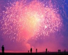 Fireworks from the beach at Sunderland Airshow