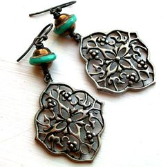 Czech Glass and Metal Filigree Earrings Just Be by JustBeCreative, $24.00