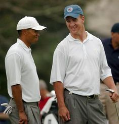 Peyton Manning and Tiger Woods Pga Tour Players, Famous Golfers, Broncos Fans, Denver Broncos, Carolina Hurricanes, Golf Player, Sport Icon, Golf Lessons, Sports Figures
