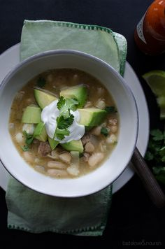 White Bean and Chicken Chili - So delicious, healthy and easy with a great spicy kick!   From @tasteLUVnourish on TasteLoveAndNourish.com