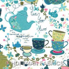 """Tiana Tea Party Fabric from Hoffman Fabrics in 100% cotton 44/45"""" wide - 1 Yard. $8.10, via Etsy."""