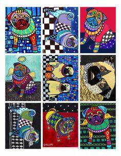 PUG Art ACEO Card PRINT Set Dog ATC Cards angel