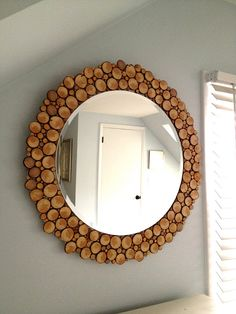 DIY mirror with wood slices - doing this to my plain oval mirror in downstairs BR.