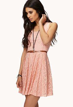 Floral Lace Dress w/ Belt | FOREVER21 - 2042997025
