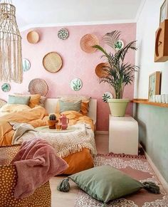 """"""""""" 20 Cozy Dorm Room Ideas to Snuggle Up To """""""" """"Cozy"""" rooms are almost universally loved by all. And for good reason! Get inspired by checking out these 20 cozy dorm room ideas when you need inspiration for creating your own at college! Estilo Interior, Home Interior, Asian Interior, Modern Interior, Bedroom Interior Design, Pastel Interior, Stylish Interior, Colorful Interior Design, Orange Interior"""