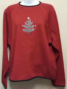 Woolrich L XL Ruby Red Sweater Tree Snowflakes Winter Henley Heavy Tight Knit #Woolrich #Henley #Christmas