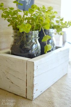 DIY Reclaimed Wood Box & Mason Jar Gift tutorial for Mother's Day, Birthdays, Weddings, and more.