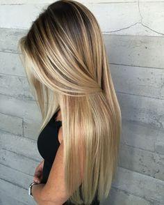 langes blondes haar strähnchen strobing ombre