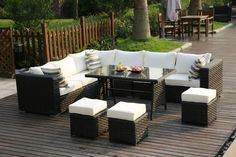Manufactured from PE rattan which can be kept outdoors all year round. #rattan #gardenfurniture #conservatory #9seater #diningtable #cushions