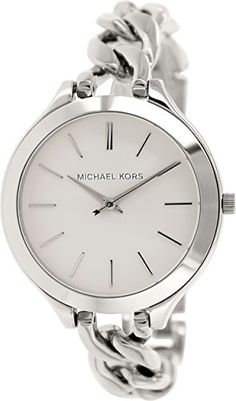 Michael Kors Slim Runway White Dial Stainless Steel Ladies Watch Stainless steel case with a stainless steel bracelet. Fixed stainless steel bezel. Stainless Steel Watch, Stainless Steel Bracelet, Cool Watches, Watches For Men, Wrist Watches, Women's Watches, Jewelry Watches, Cheap Watches, Gents Watches