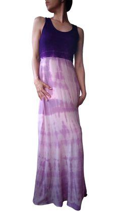 Boho Chic Tank Maxi Dress. Tie Dye Purple Rayon Maxi Dress.