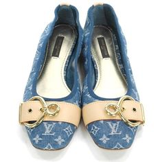 Authentic Louis Vuitton Mono Denim Ballet Flats Shoes Sz. 36 ❤ liked on Polyvore