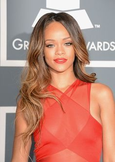 Rihanna at the Grammys with Loose Waves and Red Lips. #VisibleChangesSalons