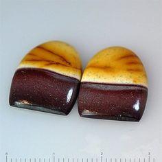 17.5Ct UNIQUE Natural Mookaite Jasper (20mm X 15mm each) Pair For Earrings
