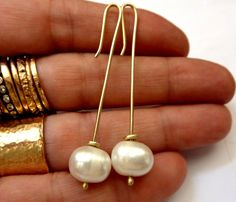 9K Gold Long Urban Earrings White Pearl Handmade by VenexiaJewelry, $205.00