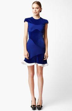 Alexander McQueen Organza Trim Velvet Dress | Nordstrom