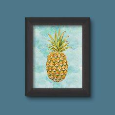 Pineapple Print Pineapple Wall Art Watercolor by printiteasy