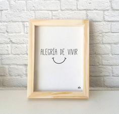 Cuadro tipográfico con diseño minimalista para decorar tu cuarto, living o cocina. Se puede colgar o apoyar sobre una base, por ejemplo un escritorio o biblioteca. Vida feliz, feliz vida. — Encontrá el tuyo en www.kermesseaccesorios.com.ar
