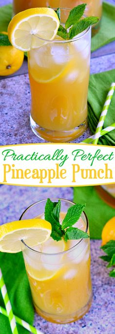 Practically Perfect Pineapple Punch is totally refreshing on a hot summer day!  Cocktail or punch - it's your choice! // Mom On Timeout