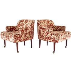 Pair of Mid-Century Pull-Up Lounge Chairs | From a unique collection of antique and modern lounge chairs at https://www.1stdibs.com/furniture/seating/lounge-chairs/