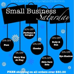 Offering small business Saturday deals for Mary Kay all day Contact me with any questions!! Order online at www.marykay.com/randerson98804
