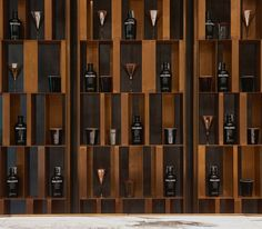For the new product line, the brand experiments in the world of precious and original materials, in the quest for an exclusive perfection. Wine Shelves, Wine Storage, Display Shelves, Shelving, Cubby Storage, Storage Ideas, Display Wall, Deco Restaurant, Restaurant Design