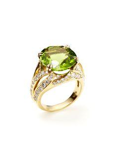 Piranesi Oval Cut Peridot & Diamond Split Shank Ring
