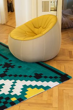 Dare to Rug <Frisky> from the 'Romanian Moods' Collection. Hand-tufted with the best New Zealand wool. Dares, Bean Bag Chair, Interior Design, Rugs, Inspiration, Wool, Furniture, Collection, Home Decor