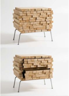 Stacked Wood Side Table