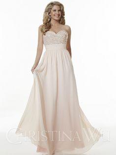 2016 A-line Sequins Long Chiffon Bridesmaid Dress Christina Wu Style 22613
