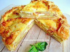 Receta que contiene lonchas de jamón, sal y pimienta, con sal, queso de cabra, queso rallado, con leche, jamón serrano, crema de leche