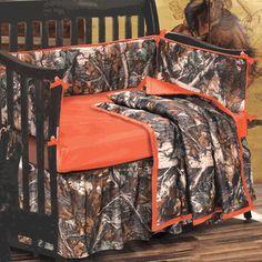 Orange and Camo Crib Set - 4 pcs