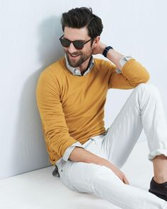 J.Crew Italian cashmere crewneck sweater worn with the Garrett Leight™ Brooks sunglasses in java.