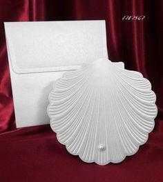 deniz kabuğu şeklinde düğün davetiyesi