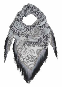 61W54D8_2000 Desigual Scarf Triangle Boho Shybory, Black and White