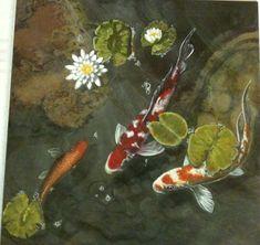 Avert, Manage, And Eliminate Black Mildew Koi Pond. Acrylic On Slate. Koi Art, Fish Art, Koi Painting, Stone Painting, Koi Fish Pond, Koi Ponds, Painted Rocks Kids, Painted Stones, Rock Crafts