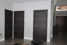 Think out of the box and make your own custom door to fit your special style. Blend and match different glasses, designs and woods. Call us today for more details. Contemporary Interior Doors, Modern Interior, Modern Bungalow, Luxury Homes Interior, Make Your Own, Tall Cabinet Storage, Box, Solid Wood, Woods