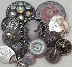 Vintage Metal Vtg Glass Rhinestone Metal Buttons