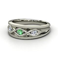 Triple Twist Ring, White Gold Ring with Emerald