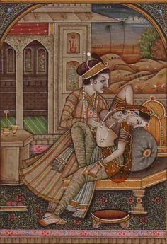 Mughal Miniature Painting photo by Mughal Miniature Paintings, Mughal Paintings, Indian Art Paintings, Classic Paintings, Krishna, Rajasthani Painting, Sexy Painting, Indian Artist, Hindu Art
