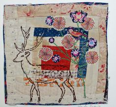Deer. Embroidered and Appliqued Textile by MandyPattullo on Etsy