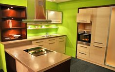 Amazing 15 Green Kitchen Designs : Amazing 15 Green Kitchen Designs With White Green Wall Sink Oven Stove Cabinet Wooden Table Furniture Hoo...