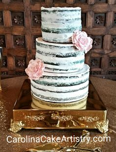 Naked brushed Blue Velvet Wedding Cake with Pink edible Roses! @the Arbors
