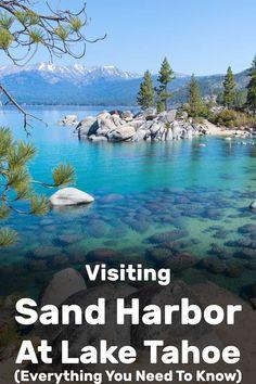 Visiting Sand Harbor at Lake Tahoe (Everything You Need to Know) - Trip Memos Lake Tahoe Restaurants, Lake Tahoe Resorts, Lake Tahoe Vacation, Lake Tahoe Hiking, Ski Resorts, Vacation Spots, Sand Harbor Lake Tahoe, Emerald Bay Lake Tahoe, Harbor Beach