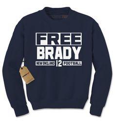Crewneck Free Brady Long Sleeve New England Football Sweatshirt #1607 by Expression Tees Trending Clothing / Apparel USA Seller