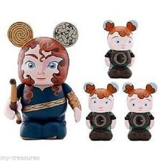 NEW Disney Vinylmation Brave 3'' Figure Merida with 1.5'' Triplet Figures 4 pc
